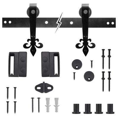 72 in. Dark Oil-Rubbed Bronze Fleur-De-Lis Sliding Barn Door Track and Hardware Kit