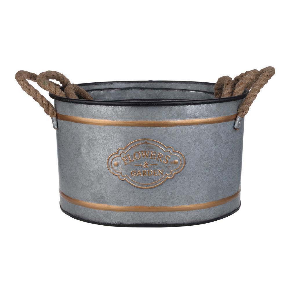 Huxley Decorative Pots - Zinc - Silver Set of Three