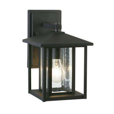Fairmont 1-Light Black Outdoor Wall Mount Lantern with Clear Seeded Glass