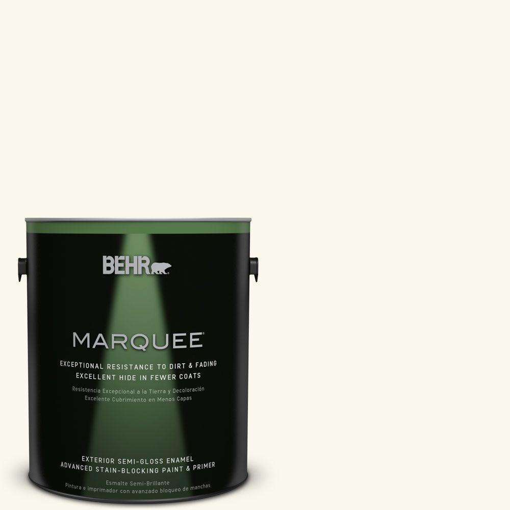 BEHR MARQUEE 1-gal. #BXC-29 Stately White Semi-Gloss Enamel Exterior Paint