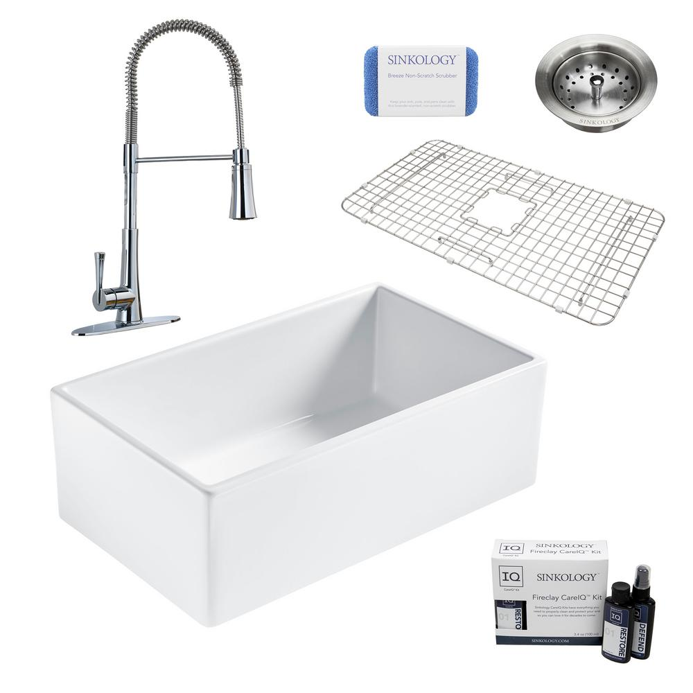 SINKOLOGY Bradstreet II All-in-One Farmhouse Fireclay 30 in. Single Bowl Kitchen Sink with Pfister Zuri Faucet and Drain