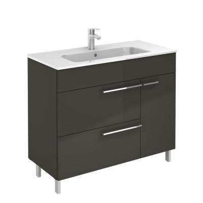 Confort 40 in. W x 18 in. D Vanity in Anthracite with Ceramic White Basin Top