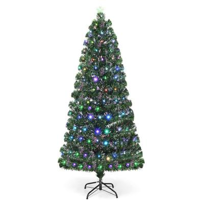 6 ft. Fiber Optic Artificial Christmas Tree with 225 Multi-Color LED Lights
