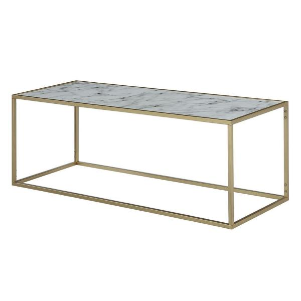 48 in. White/Gold Large Rectangle Wood Coffee Table