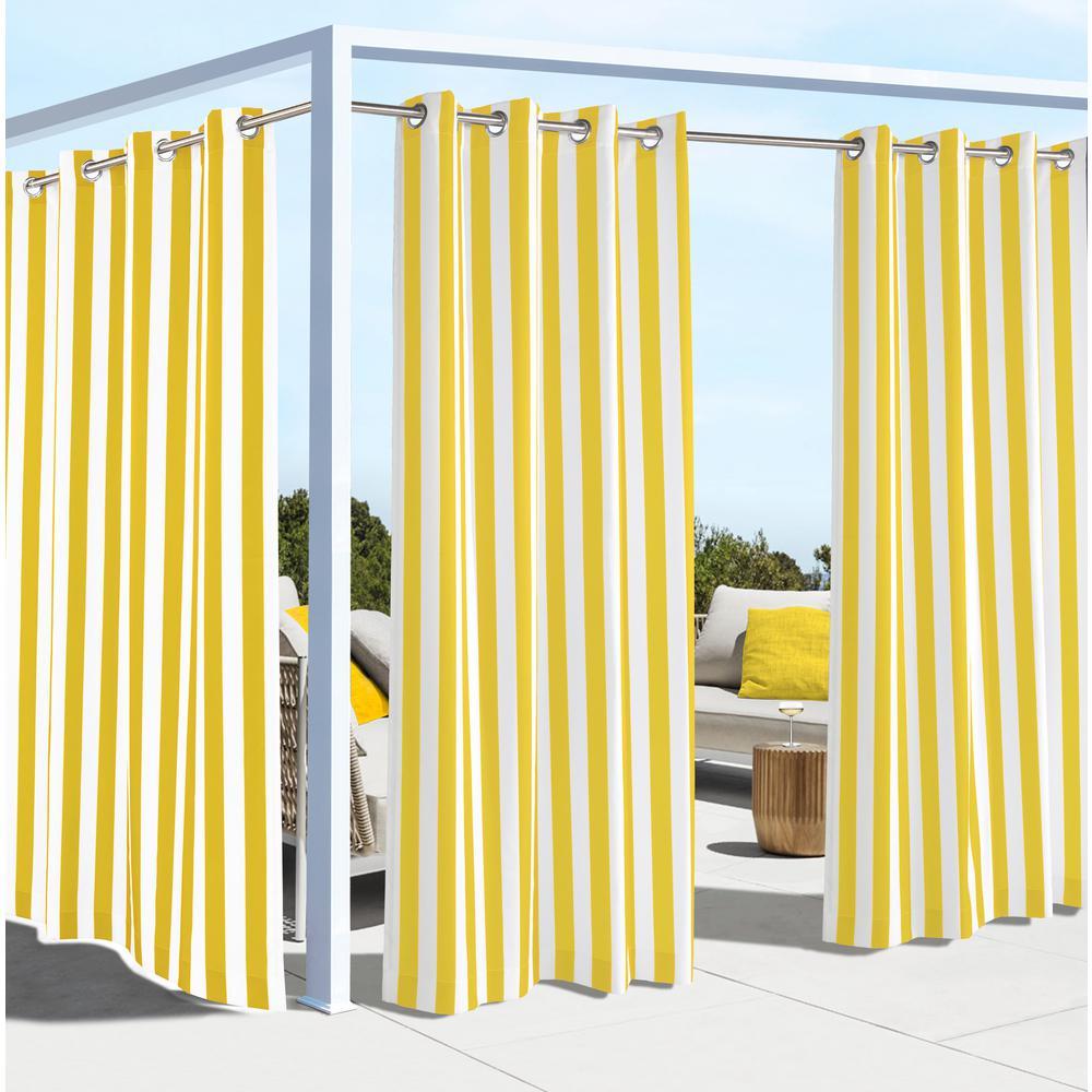 Coastal Stripe Yellow - 50 in. W x 108 in. L - Outdoor Light Filtering Window Panel