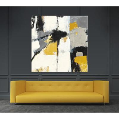 """54 in. x 54 in. """"Yellow Catalina I"""" by Mike Schick Printed Framed Canvas Wall Art"""