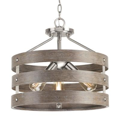 Gulliver 17 in. 3-Light Brushed Nickel Convertible Hallway Semi-Flush Mount with Weathered Gray Wood Accents
