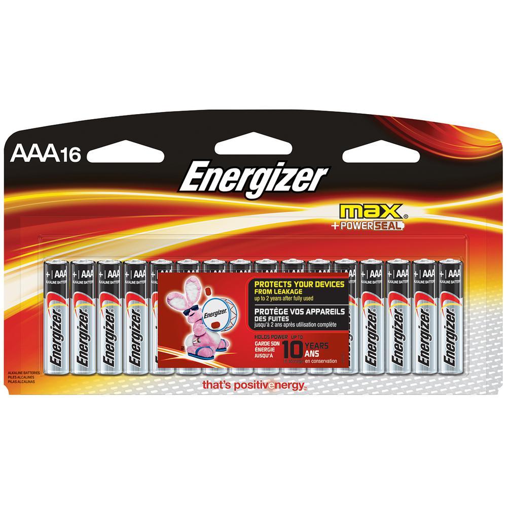 Energizer Max Alkaline Aaa Battery 16 Pack E92slp16t