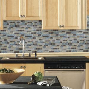 10.5 in. x 10.5 in. Blue Long Stone Peel and Stick Tiles (4-Pack)