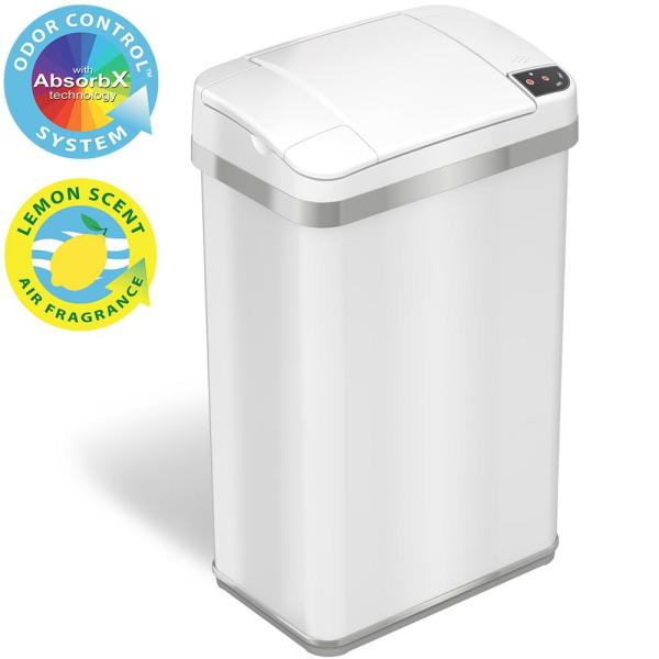 iTouchless 4 Gal. Touchless Sensor Trash Can with AbsorbX Odor Control System and Fragrance, Pearl White, Slim Bathroom Bin, 15 L