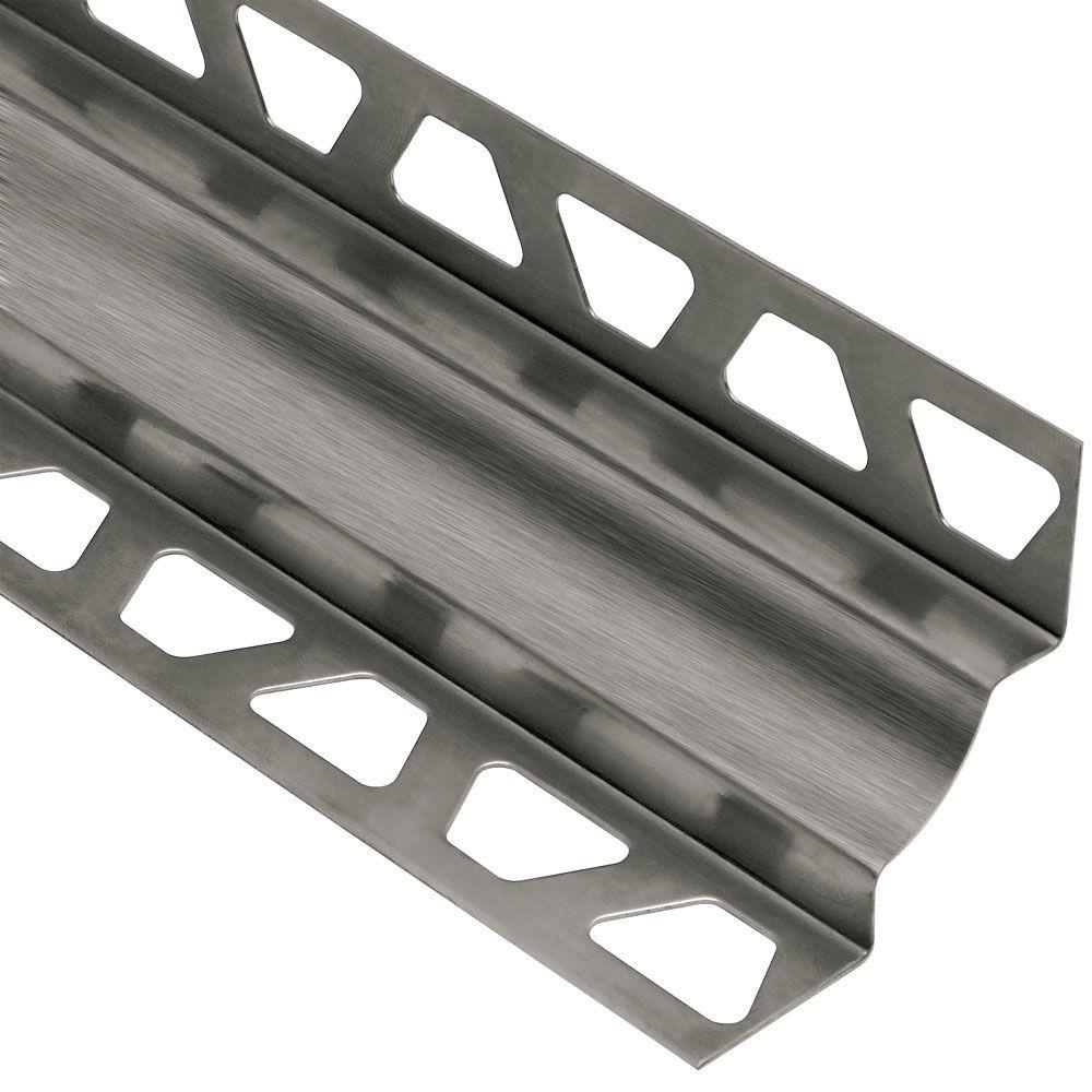Schluter Dilex-EHK Brushed Stainless Steel 7/16 in. x 8 ft. 2-1/2 in. Metal Cove-Shaped Tile Edging Trim