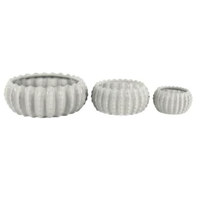 17 in. x 7 in., 11 in. x 6 in., 8 in. x 5 in. Indoor/Outdoor Round White Ceramic Planters with Ridges (Set of 3)