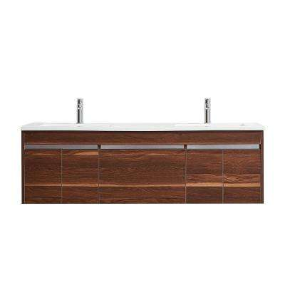 Thomas 60 in. W x 18 in. D Bath Vanity in Walnut with Quartz Vanity Top in White with White Basins