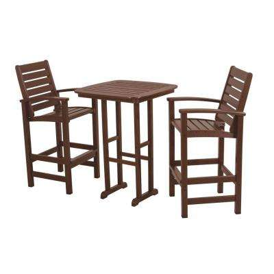 Signature Mahogany 3-Piece Plastic Outdoor Patio Bar Set
