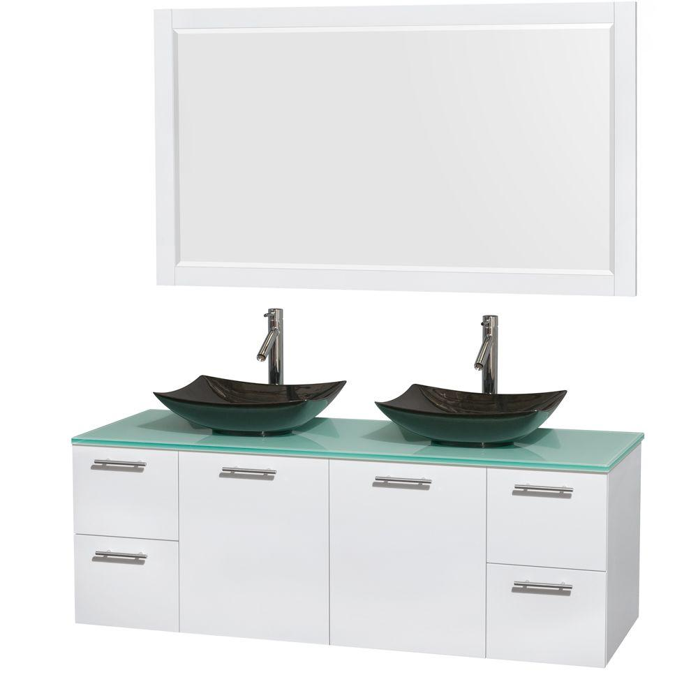 Wyndham Collection Amare 60 in. Double Vanity in Glossy White with Glass Vanity Top in Green, Granite Sinks and 58 in. Mirror