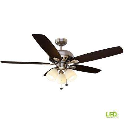Rockport 52 in. LED Brushed Nickel Ceiling Fan with Light Kit