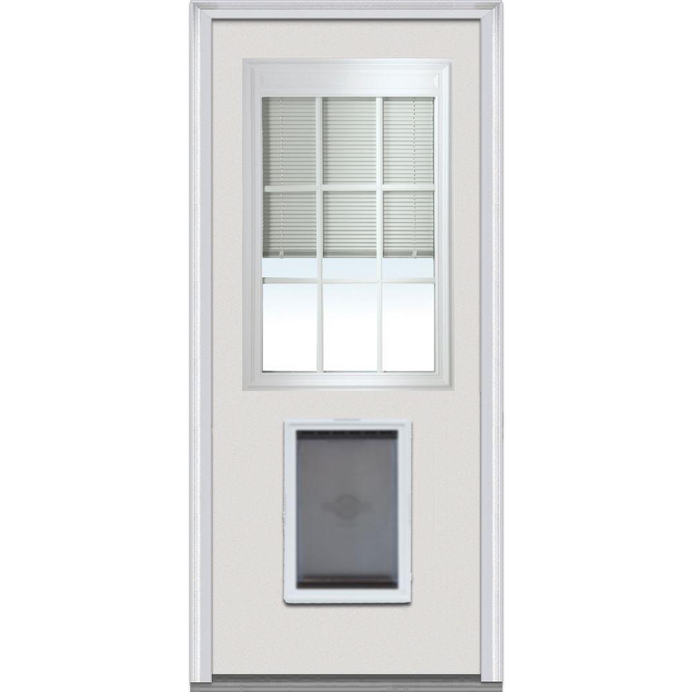 Milliken Millwork 36 in. x 80 in. Internal Mini Blinds w/ Muntins 1/2 Lite Primed Builder's Choice Steel Prehung Front Door w/ Pet Door