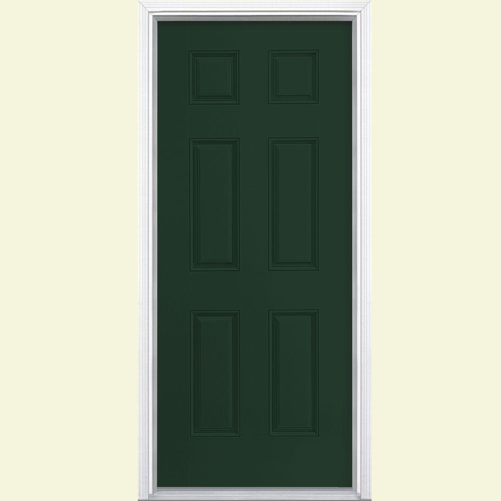 Masonite 32 in. x 80 in. 6-Panel Conifer Left Hand Inswing Painted Smooth Fiberglass Prehung Front Door with Brickmold