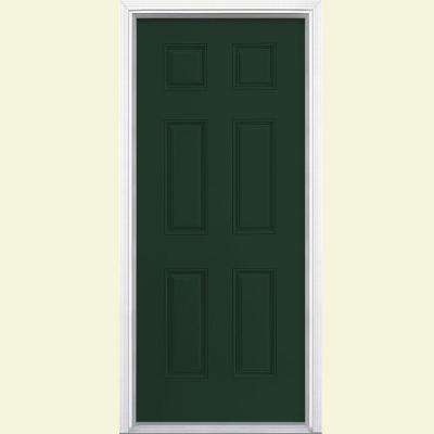 32 in. x 80 in. 6-Panel Conifer Left Hand Inswing Painted Smooth Fiberglass Prehung Front Door with Brickmold
