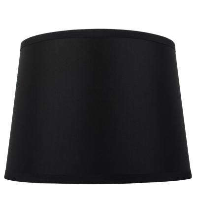 Mix and Match 14 in. Diax 10 in. H Black Round Table Lamp Shade