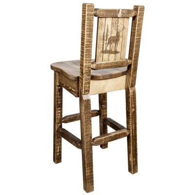Homestead Collection 30 in. Early American Laser Engraved Elk Motif Bar Stool with Back