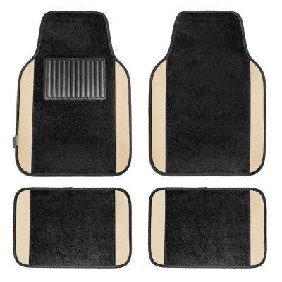 Beige Premium 4 Pieces 25 in. x 17.5 in. Carpet Car Floor Mats