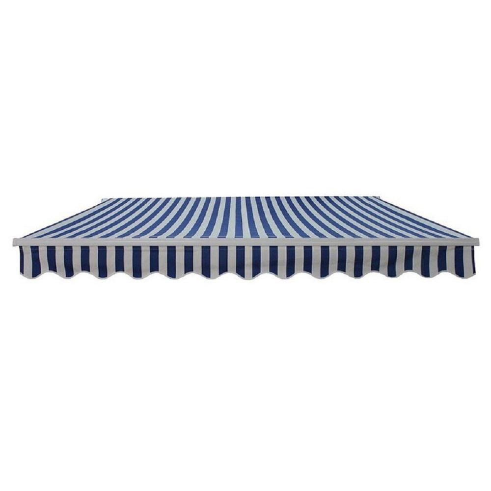 Aleko 12 Ft Manual Patio Retractable Awning 120 In Projection In Blue And White Stripes Aw12x10bwstr03 Hd The Home Depot