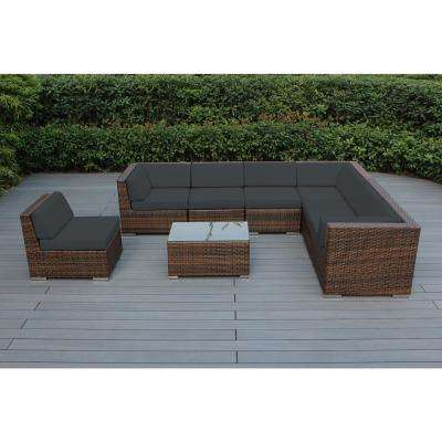 Mixed Brown 8-Piece Wicker Patio Seating Set with Spuncrylic Gray Cushions