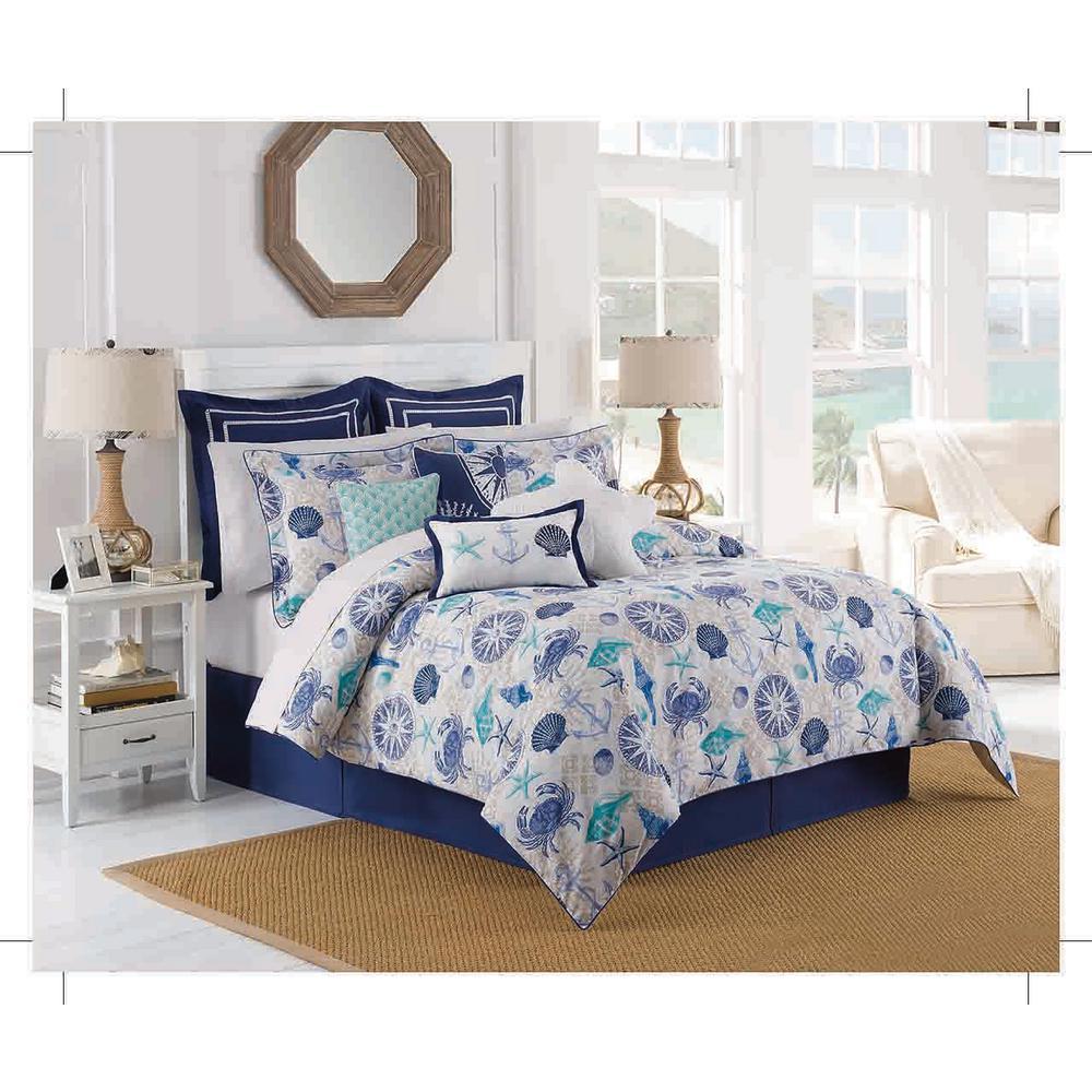 Royal Heritage Home Williamsburg Barnegat 4-Piece Aqua Queen Comforter Set