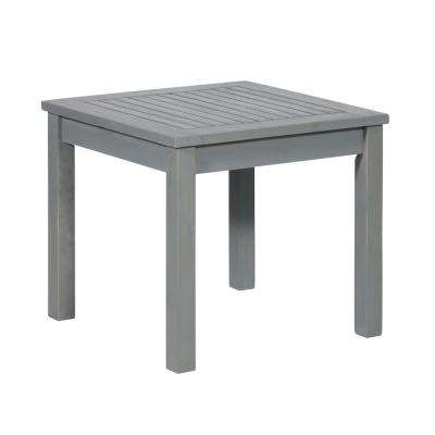 Grey Wash Square Acacia Wood Outdoor Side Table