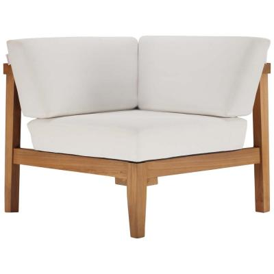 Bayport Natural Teak Corner Outdoor Lounge Chair with White Cushions