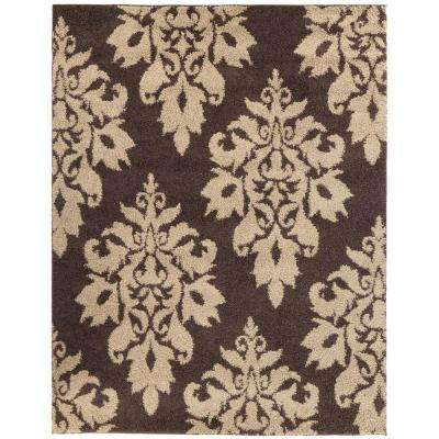 Meadow Damask Dark Brown 4 ft. x 6 ft. Area Rug
