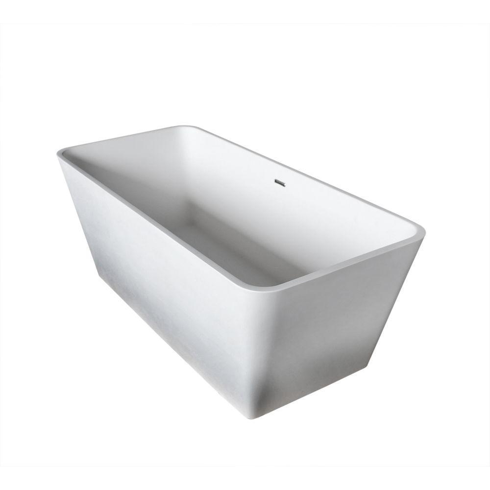 Joy Stone 5 ft. Artificial Stone Center Drain Rectangular Bathtub in White