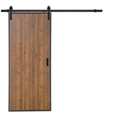 36 in. x 84 in. Terra Toffee Rustic Metal Framed Solid Core Interior Barn Door with Sliding Rustic Hardware Kit