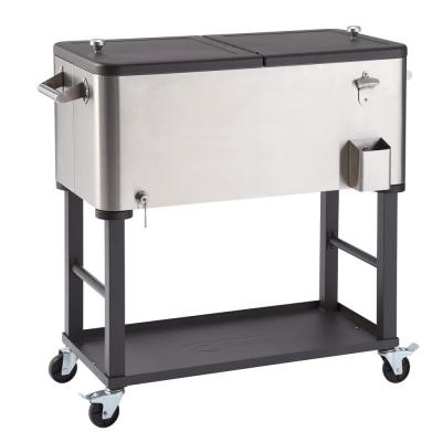 100 Qt./25 Gal. Stainless Steel Wheeled Cooler with Detachable Tub