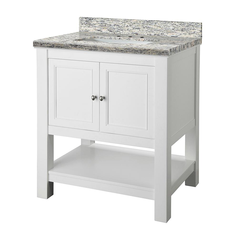 Home Decorators Collection Gazette 31 in. W x 22 in. D Vanity in White with Granite Vanity Top in Santa Cecilia with White Sink