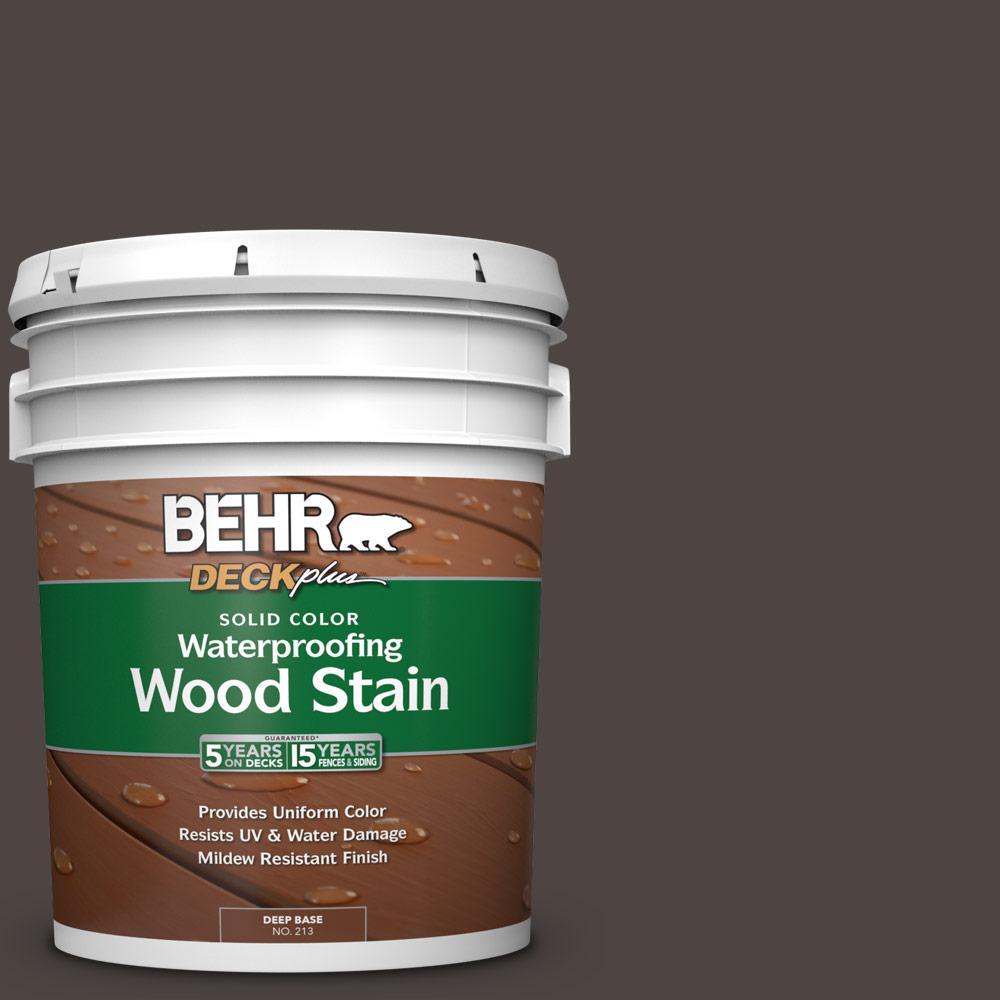BEHR DECKplus 5 gal. #SC-104 Cordovan Brown Solid Color Waterproofing Exterior Wood Stain