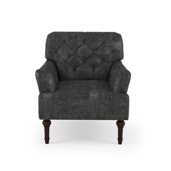 Furniture of America Dark Gray Danelle Faux Leather Upholstery Button-Tufted