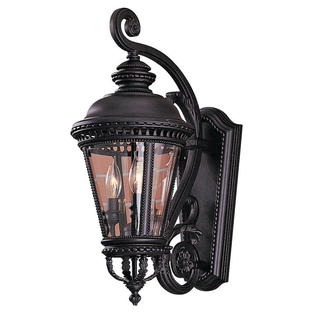 Castle 3-Light Black Outdoor 22.5 in. Wall Lantern Sconce