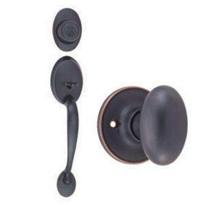 Coventry Oil-Rubbed Bronze Handleset with Single Cylinder Deadbolt, Egg Knob Interior and Universal 6-Way Latch