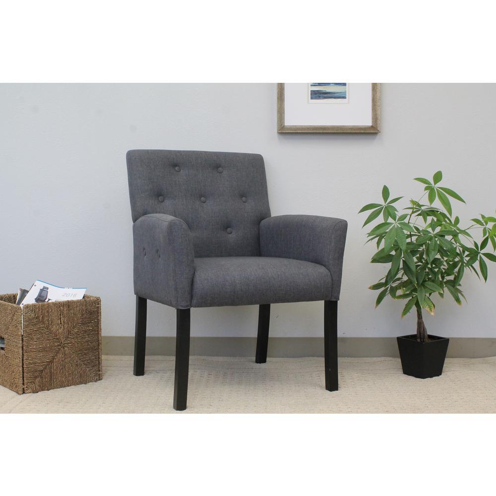 Designer Guest Chair. Slate Grey Fabric. Black Finish. Comfort Cushions.