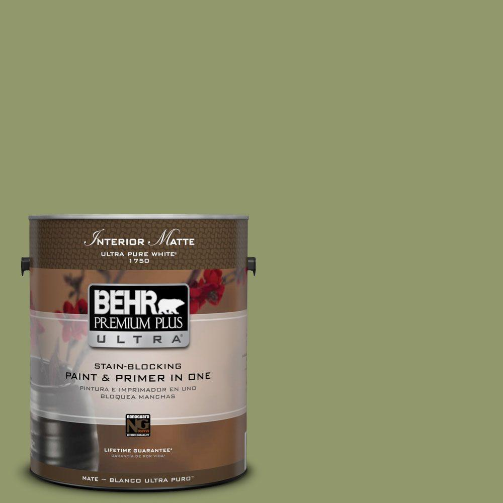 BEHR Premium Plus Ultra 1 gal. #HDC-SP14-2 Exotic Palm Matte Interior Paint