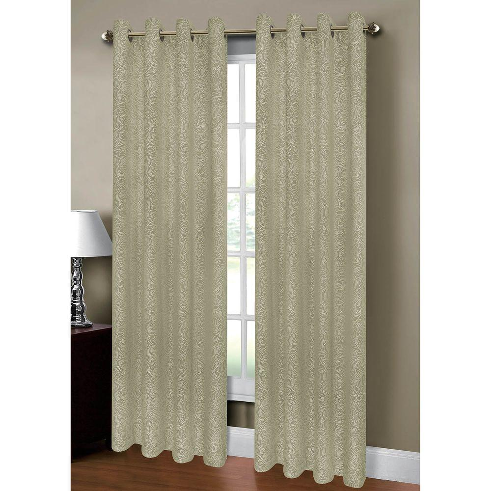 Semi Opaque Leila Jacquard Extra Wide 84 In L Grommet Curtain Panel Pair Sage Set Of 2