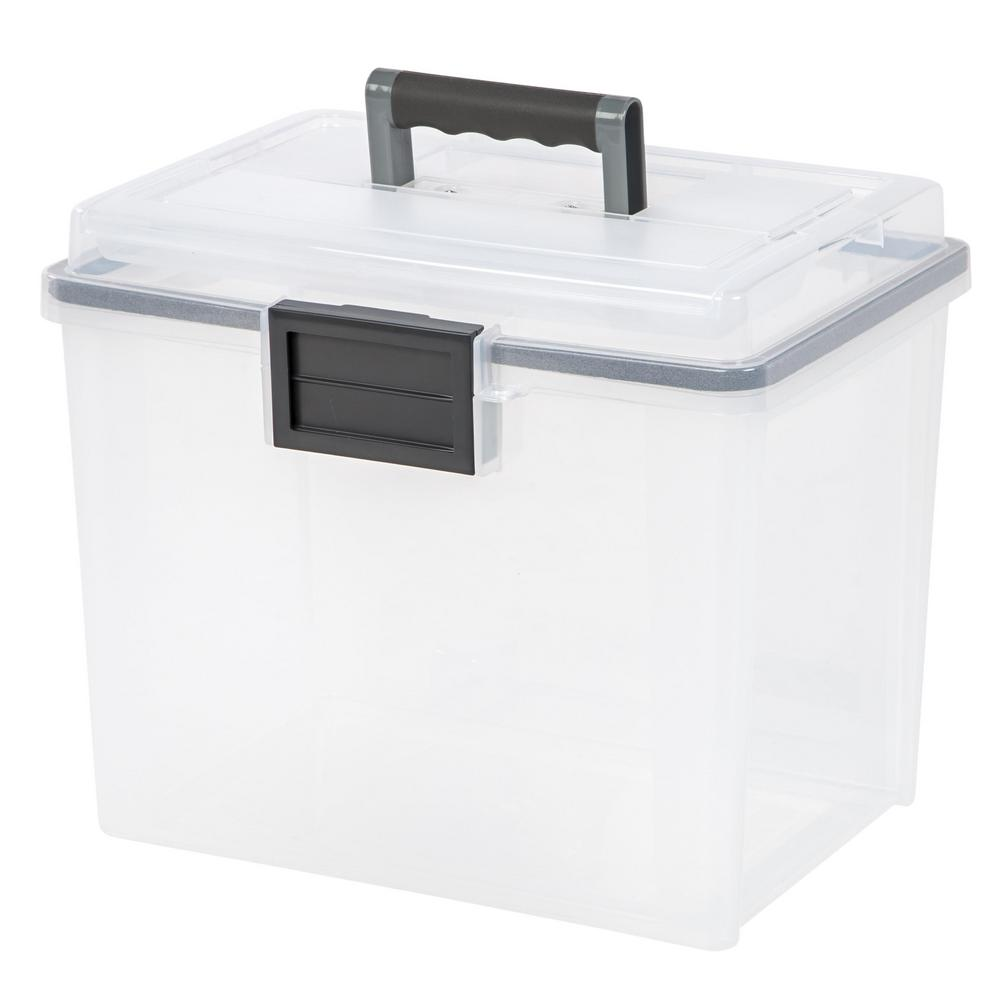 iris 19 qt  portable weather tight file storage box in