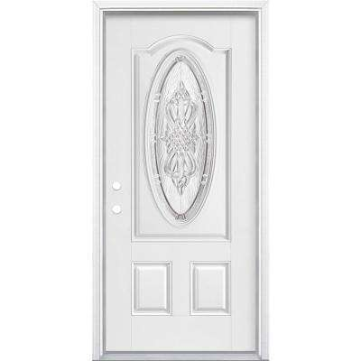 36 in. x 80 in. New Haven 3/4 Oval Right-Hand Primed White Smooth Fiberglass Prehung Front Door w/ Brickmold,Vinyl Frame