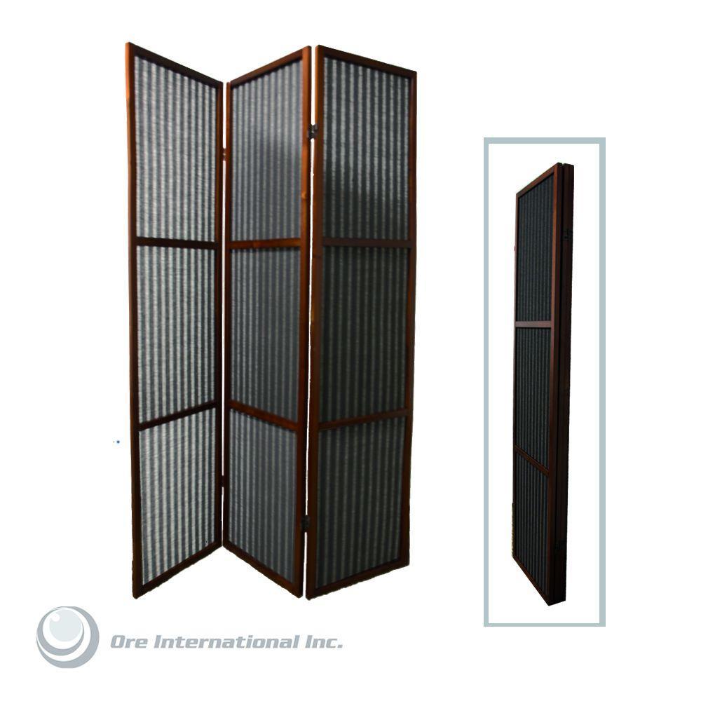 Home Decorators Collection 5.85 ft. Walnut 3-Panel Room Divider