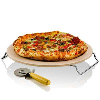 Ceramic Pizza Stone, 13 Thermal Shock Resistance Multi-Purpose Rack/Handle Free Pizza Cutter Wheel