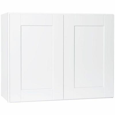 Shaker Assembled 30x23.5x12 in. Wall Bridge Kitchen Cabinet in Satin White