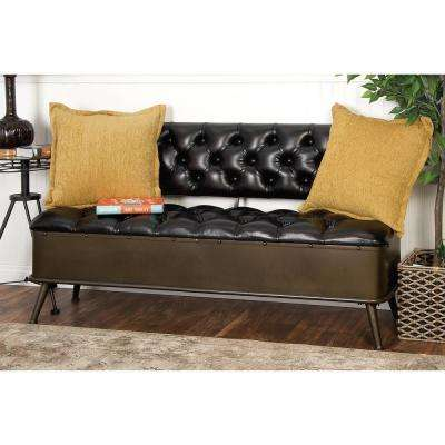 Modern Black Buttoned Storage Bench