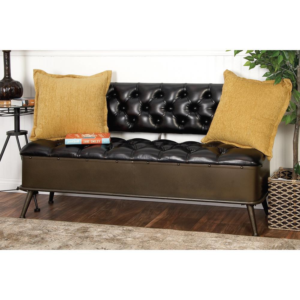 Fine Modern Black Buttoned Storage Bench Andrewgaddart Wooden Chair Designs For Living Room Andrewgaddartcom